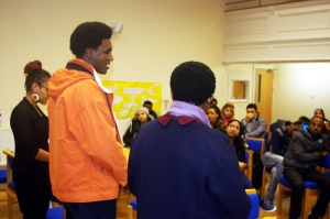 UiD community member Mr. S, public speaking for the first time - being greatly empowered by visitors from BAWSO.