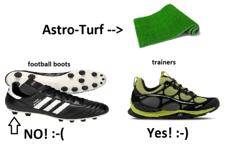 astro turf - no football boots